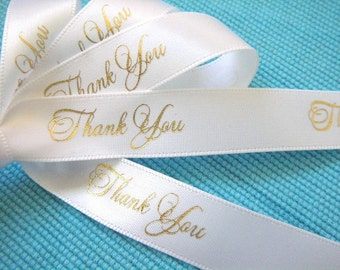 """Thank You Ribbon 5/8""""  - Choose Your Colors - 100 yards"""