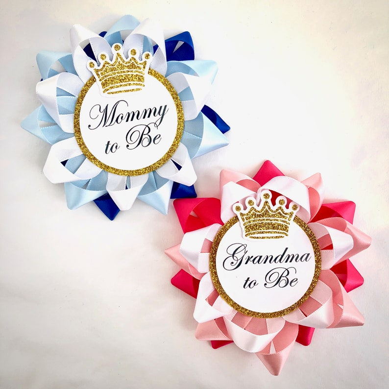 Baby shower Golden Prince  Mommy To Be Corsage and Daddy To Be Tie  for girl//boy