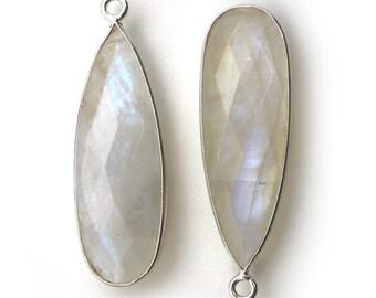 cb77903cd Bezel Pendant,Gemstone Pendant-Jewelry Findings-Bezel Set-Sterling Silver  Charm-Rainbow Moonstone-Long Teardrop -34mm-2 pcs-SKU: 201113-MST