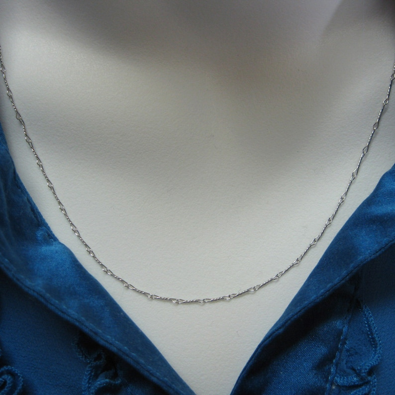 28 inches 1 pc Rhodium Plated Sterling Silver Necklace Chain 6.7mm Twisted Necklace Fancy Twisted Link - SKU: 601007-RH-28
