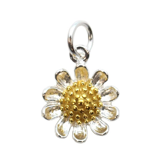 Sunflower Charm-Sterling Silver Sunflower Charm Two-Tone Charm-Flower Pendant