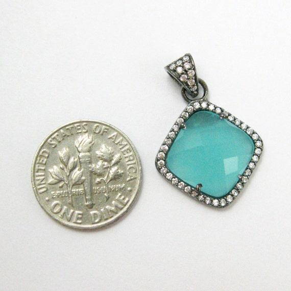 Pavé calcédoine de lunette Gemstone pendentif calcédoine Pavé Pérou, pavé de zircons oxydé en argent Sterling, à facettes lunette diamant forme-17mm-REF: 201152-par d9a89f