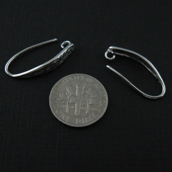 Sterling Silver Hammered Earwire 24mm by 4mm 2pcs - 1 pair