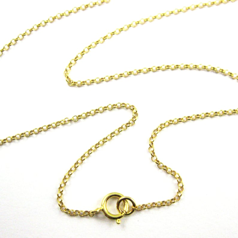 1c419fc10a9a4 22K Gold plated Sterling Silver Chain Necklace -1mm Rolo Chain- Rolo Chain  Necklace for Pendant-All Sizes 16-40 inches (1 pc) SKU: 601016-VM