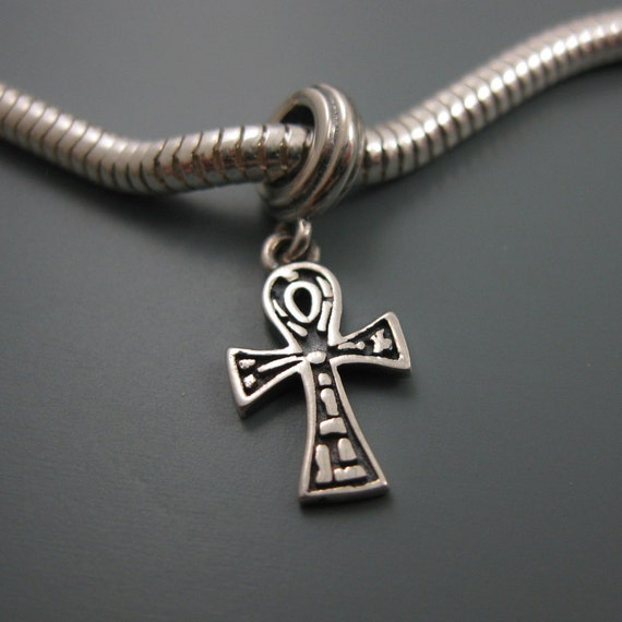 Sterling Silver 7 4.5mm Charm Bracelet With Attached Mini Smooth Ankh Charm