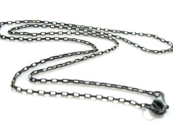 Oxidized Necklace-Oxidized Sterling Silver Chain Necklace - small rectangle Box Chain Necklace - Long Necklace (24 inches) SKU: 601011-OX-24