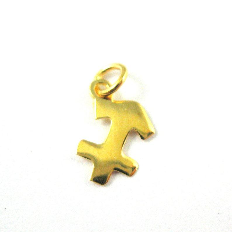 High Polish 14K Yellow Gold Gemini Pendant Zodiac Sign Charm Figaro Chain Necklace