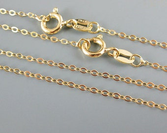 Gold Necklace-22K Gold Plated-Vermeil-Sterling Silver Chain-Necklace-Cable Flat Oval-Finished Necklace - 24 inches (1 pc) SKU: 601043-VM-24