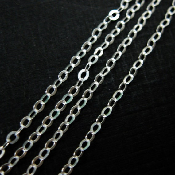 925 Sterling SILVER Flat Cable Chain 1.5mm Oval Link 5 feet Oxidized Black