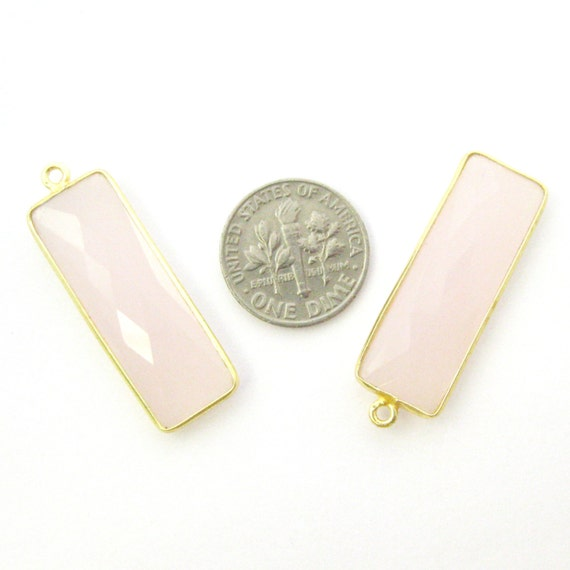 Pierre Bezel Pendant-Gold Pendant-Gold Bezel Plated-Bezel Set-Vermeil-Pink Chalcedony-Elongated, forme Rectangle-34 by11mm(2 pcs)-SKU: 201104-PCH 66e319