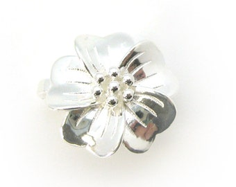Sterling Silver Flower Clasp - Magnetic Clasp Toggle Set (Sold per 1 set) SKU: 202126