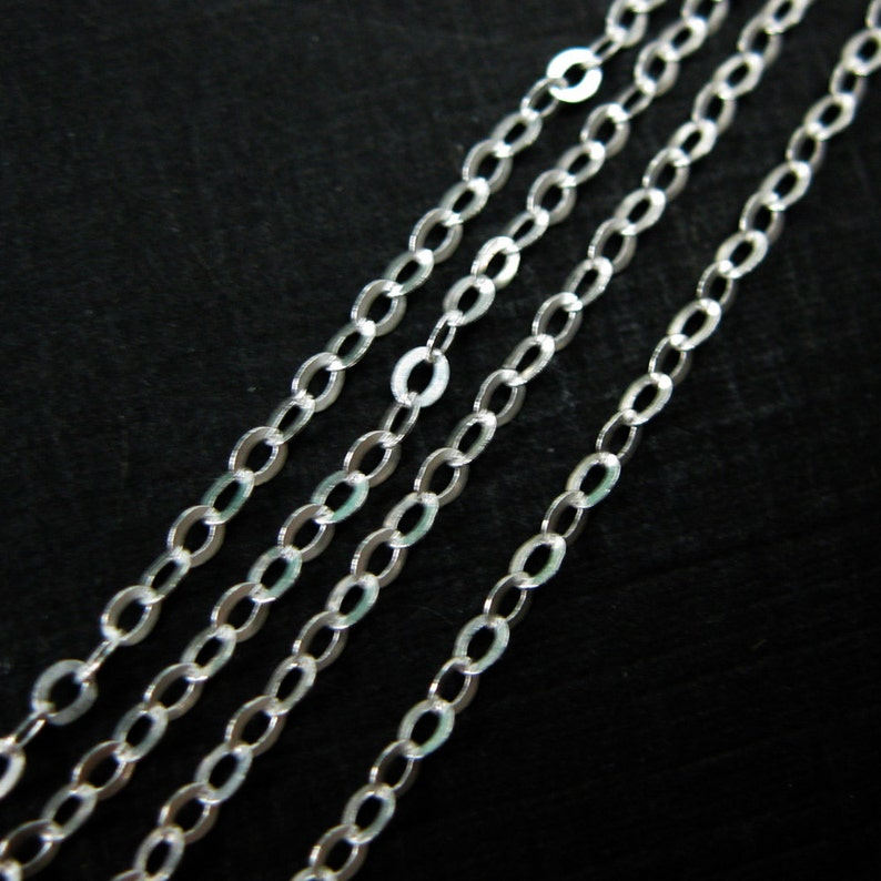 Flat Cable chain Popular Chain Rhodium plated Sterling Silver Chain 75 feet 20/% OFF-Jewelry Supplies Wholesale-SKU: 101021 Gold plated