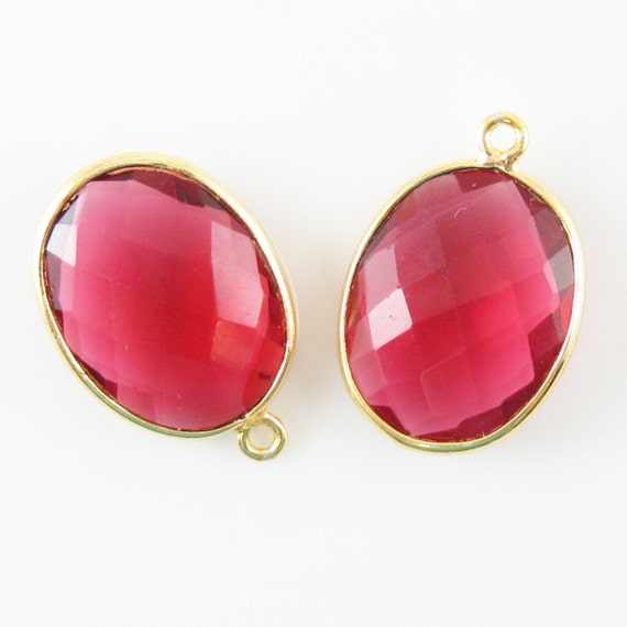 Dyed Ruby 2 Pcs 14x18mm Faceted Oval Sterling Silver Bezel Gem Pendant