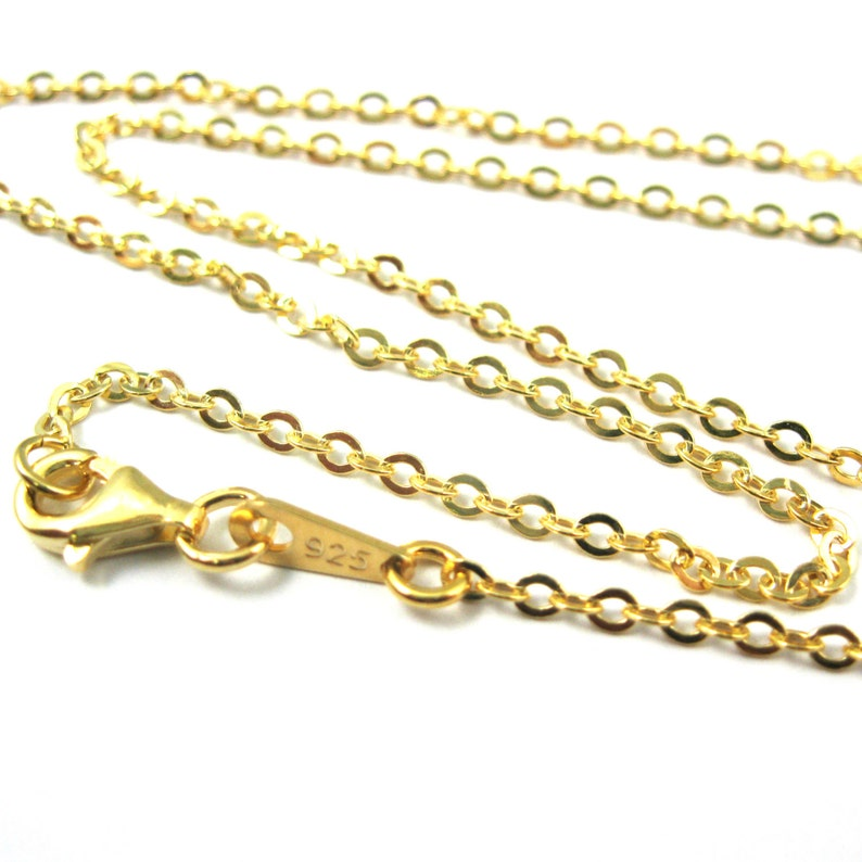 b5481d5dfa57d Gold Necklace Chain,Vermeil Sterling Silver Necklace-2.3mm Strong Flat  Cable Chain- Finished Necklace,Ready to Wear-All Sizes-SKU: 601051-VM