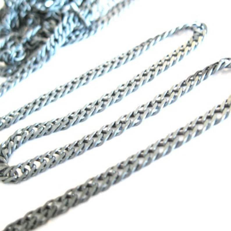 Unfinished Bulk Chain 2.8mm x 4.1mm 6 feet -SKU: 101035-OX Oxidized- Double Diamond Cut Curb Chain Sterling Silver Curb Chain