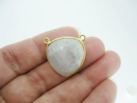 Lunette pierres précieuses connecteur pendentif - pierre de lune lune lune - argent massif plaqué or - grand Trillion en forme à facettes-18 mm-REF: 209104-SMT 3f7d85