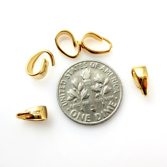 5 pcs -SKU:219012-VM Beading Supplies-Simple Smooth Classic Bail Connector-8.5mm 22K Gold plated over 925 Sterling Silver Bail Bail