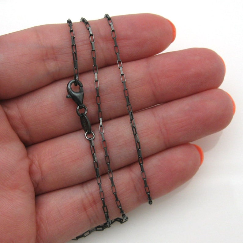 Finished For Pendant SKU: 601011-OX-18 small rectangle chain Oxidized Sterling Silver Chain 18 inches