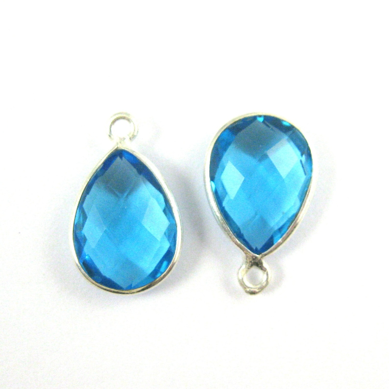 Bezel Gemstone Pendant-Faceted Elongated Teardrop-34mm-Blue Topaz 2 pcs