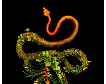 """of escape and near misses III - 100% proceeds to charity - (tree boa snake with botanicals) - Original Giclee Edition Print - 13x19"""""""