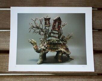 """The Art of Patience (Tortoise of Burden) - Original Giclee Limited Edition Print - 8.5x11"""""""