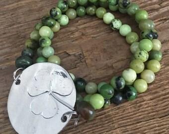 Hand Stamped Green St. Patrick's Day Beaded Bracelet Triple Wrap Shamrock