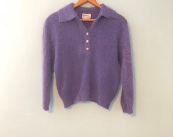 Vintage des années 50 New Look violet recadrée floue Angora laine pull  sablier guirlande S M a9c0a4e434c