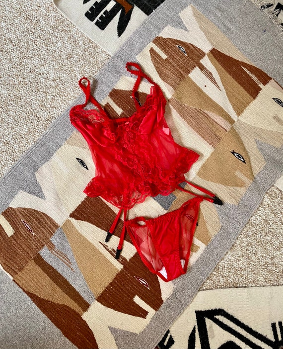Vintage 80s Bright Red Sheer Lace Camisole Bikini