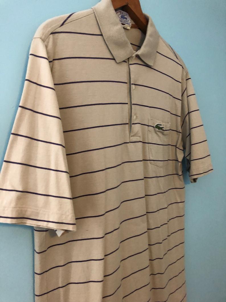 Vintage 80s Beige Navy Blue Short Sleeve Cotton Polo Shirt Izod Lacoste XL