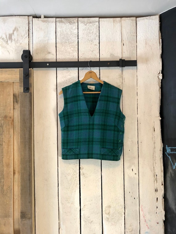Vintage 50s Blue Green Tartan Wool Plaid Cropped T