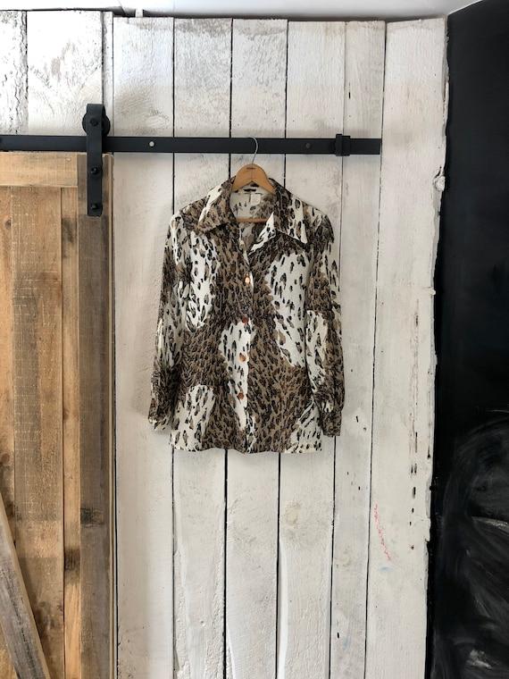 Vintage 60s Disco Beige Leopard Animal Print Lurex