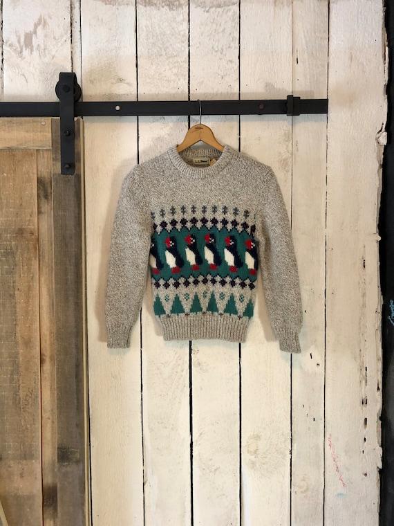 Vintage 80s Gray Puffin X Mas Tree Fairisle Wool S