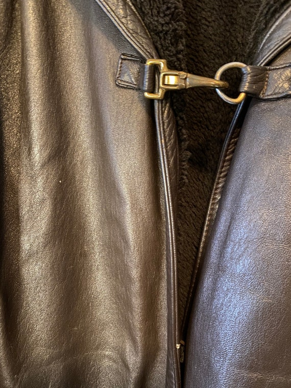 Vintage 60s Dark Brown Leather Sherpa Over Coat T… - image 8