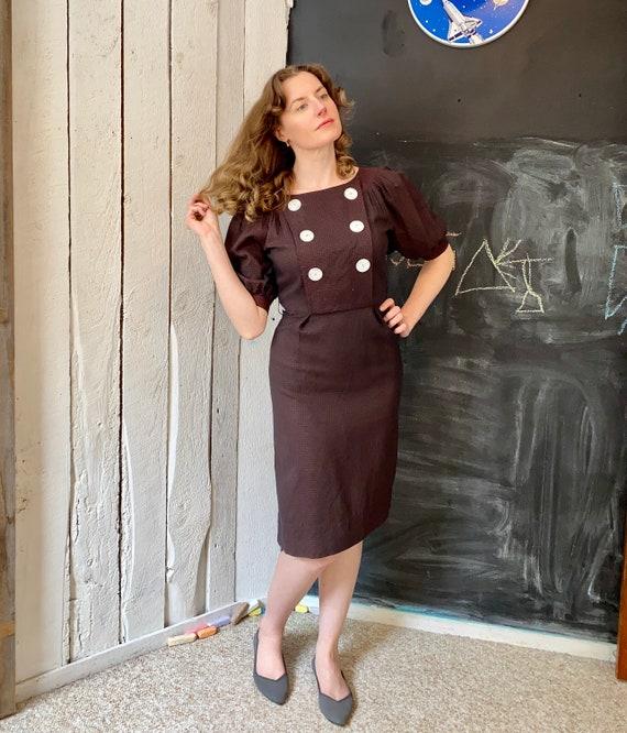 Vintage 40s Brown Black Plaid Balloon Sleeve Dress