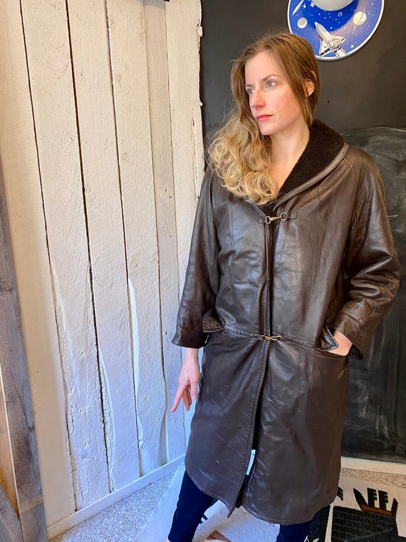 Vintage 60s Dark Brown Leather Sherpa Over Coat T… - image 3