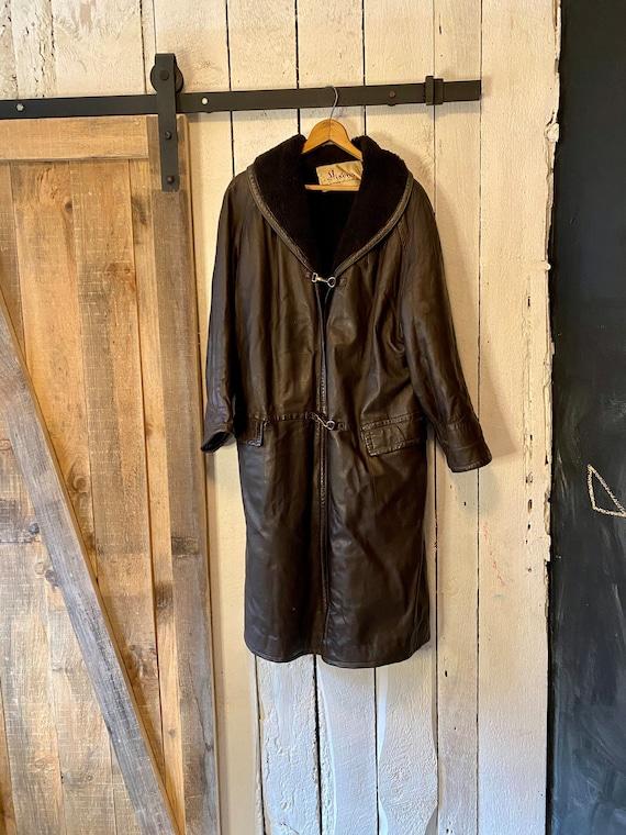 Vintage 60s Dark Brown Leather Sherpa Over Coat T… - image 4
