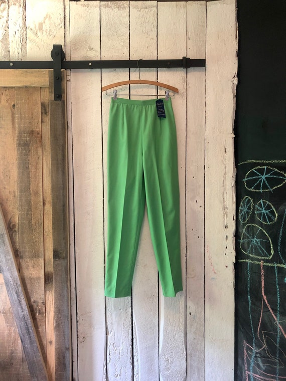 Vintage 60s Deadstock Lime Green High Rise Back Zi