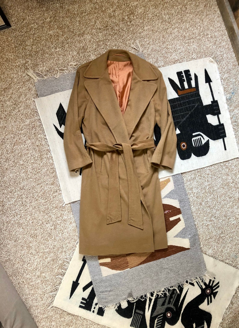 Vintage 70s Camel Beige 100/% Cashmere Chic Wide Notched Collar Wrap Trench Coat ML