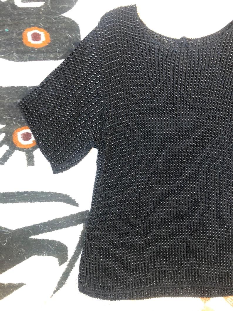 Vintage 90s Black beaded rayon t shirt top Carmen Marc Valvo M