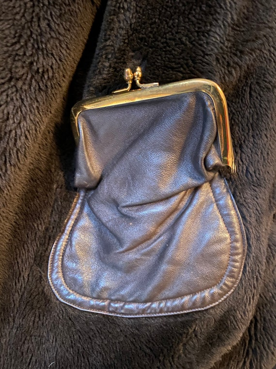 Vintage 60s Dark Brown Leather Sherpa Over Coat T… - image 6