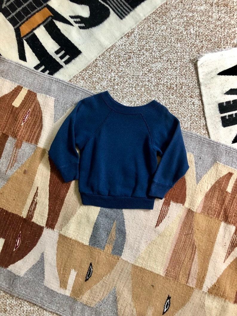 Vintage 80s Retro Navy Blue Super Soft Thin Faded Basic Staple Sweatshirt Kids 2T