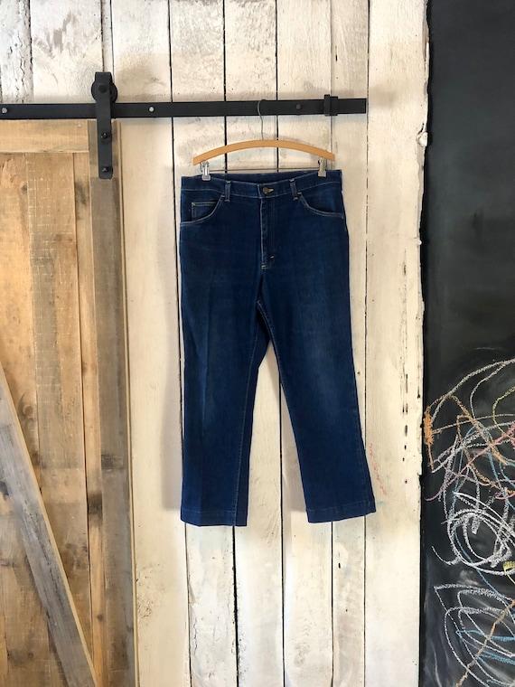 1980s Vintage Lee Denim Blue Jeans Unisex Waist 30 Hip 39 Dark Rinse