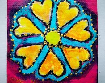 Flower abstract folk art miniature art painting