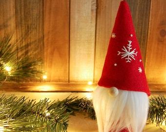 Gnome Christmas Decor - Hand Embroidered Snowflake Scandinavian Gnome