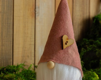 Pink Woodland Gnome with Wooden Heart