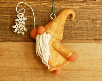 Gold Gnome Ornament with Snowflakes Hand Sculpted