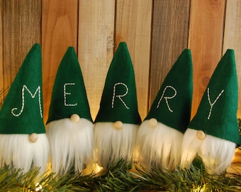 Merry Christmas Gnome Set in Green
