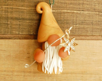 Gold Christmas Gnome Ornament with Golden Star Hand Sculpted