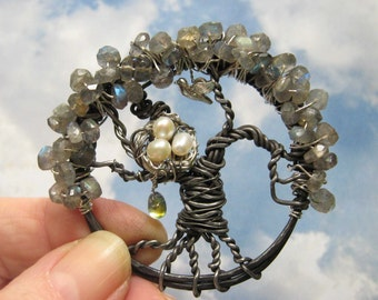 Enchanted Woodlands Labradorite Tree of life pendant comes with  ribbon