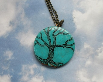 Engraved Tree of Life I am enough quote with birdnest art Locket original artwork